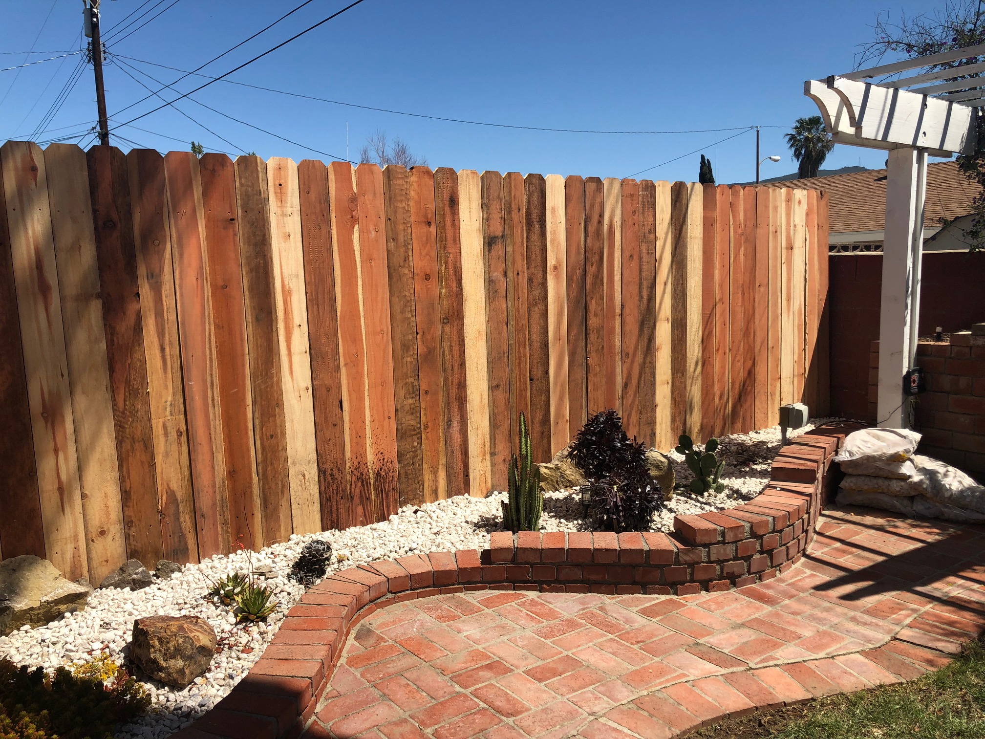 Vertical wood fence